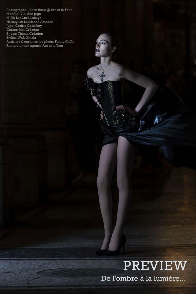 Preview de la séance photo - Corset asymétrique noir et or