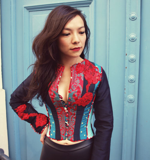 Corseted patchwork jacket
